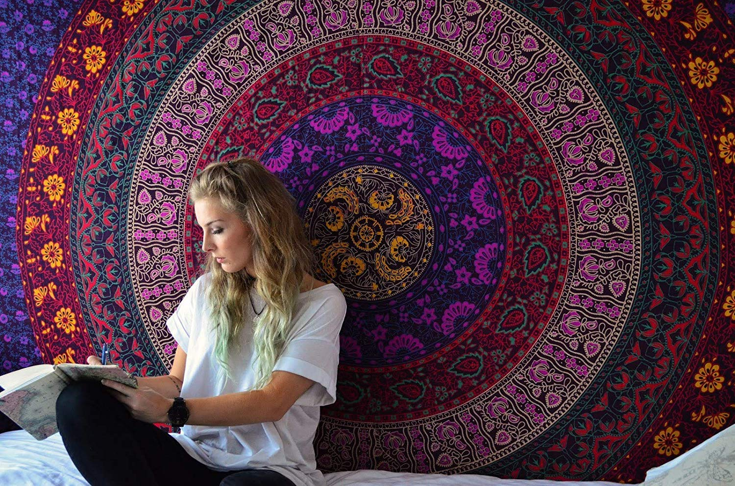 RAJRANG BRINGING RAJASTHAN TO YOU Colorful Hippie Mandala Tapestry - Boho Bohemian Tapestries Indian Dorm Decor Psychedelic Tapestry Wall Hanging Ethnic Decorative Art - Multicolor - 84 X 54 in