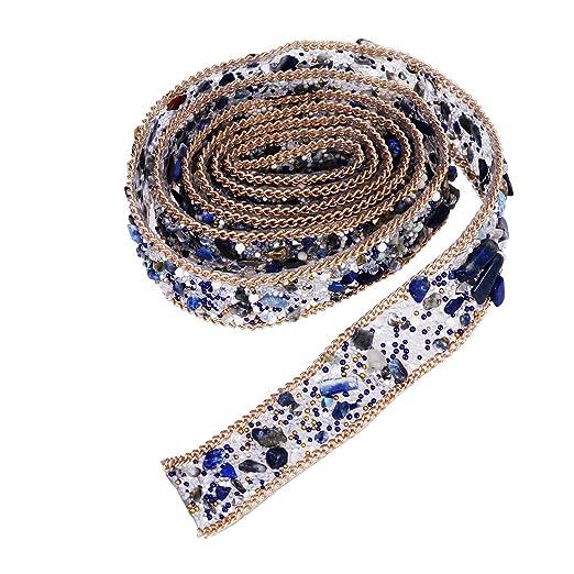 Application  Borte Silber Blau Hochzeit  Strass  16 cm