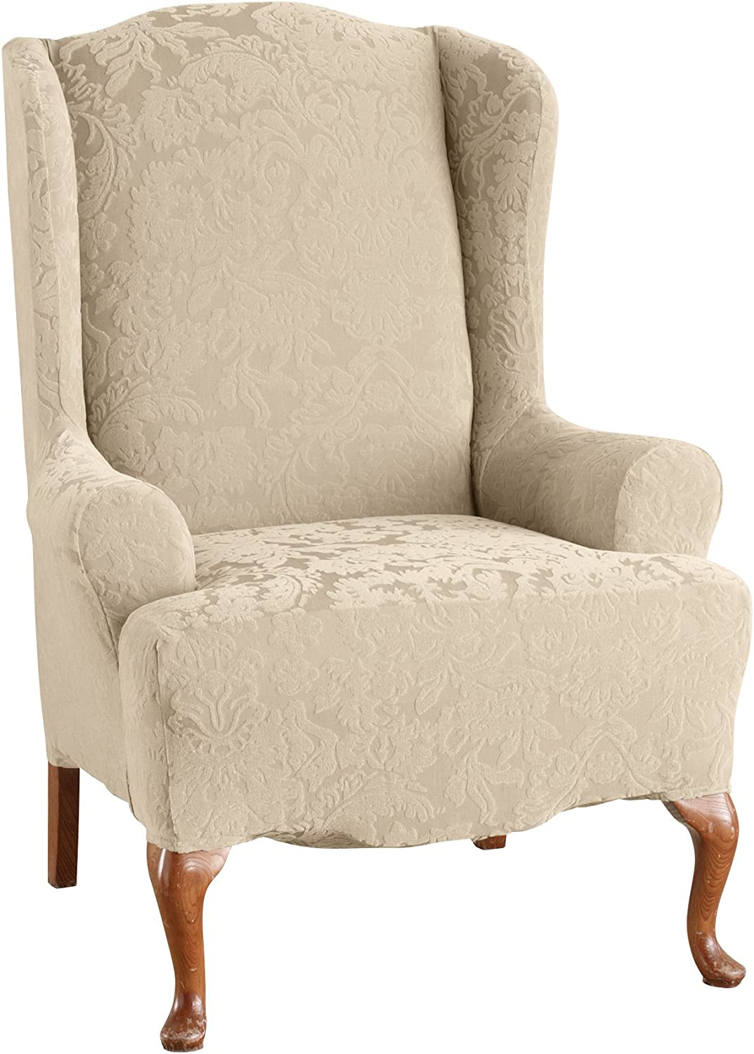 SureFit Stretch Jacquard Damask - Wing Chair Slipcover- Oyster (SF39613)