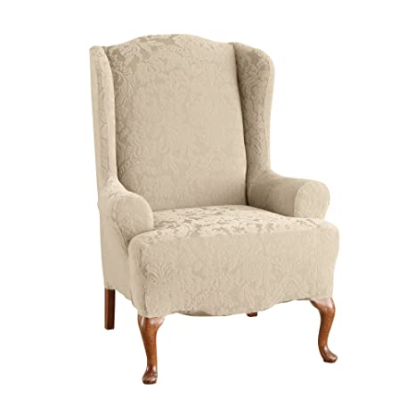 Wondrous Surefit Stretch Jacquard Damask Wing Chair Slipcover Oyster Sf39613 Gmtry Best Dining Table And Chair Ideas Images Gmtryco
