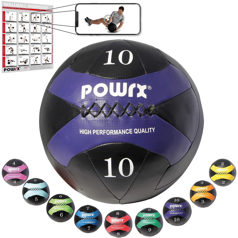 POWRX - Pelota de Wall I 2 - 10 kg I Balón Medicinal Peso pelota ...