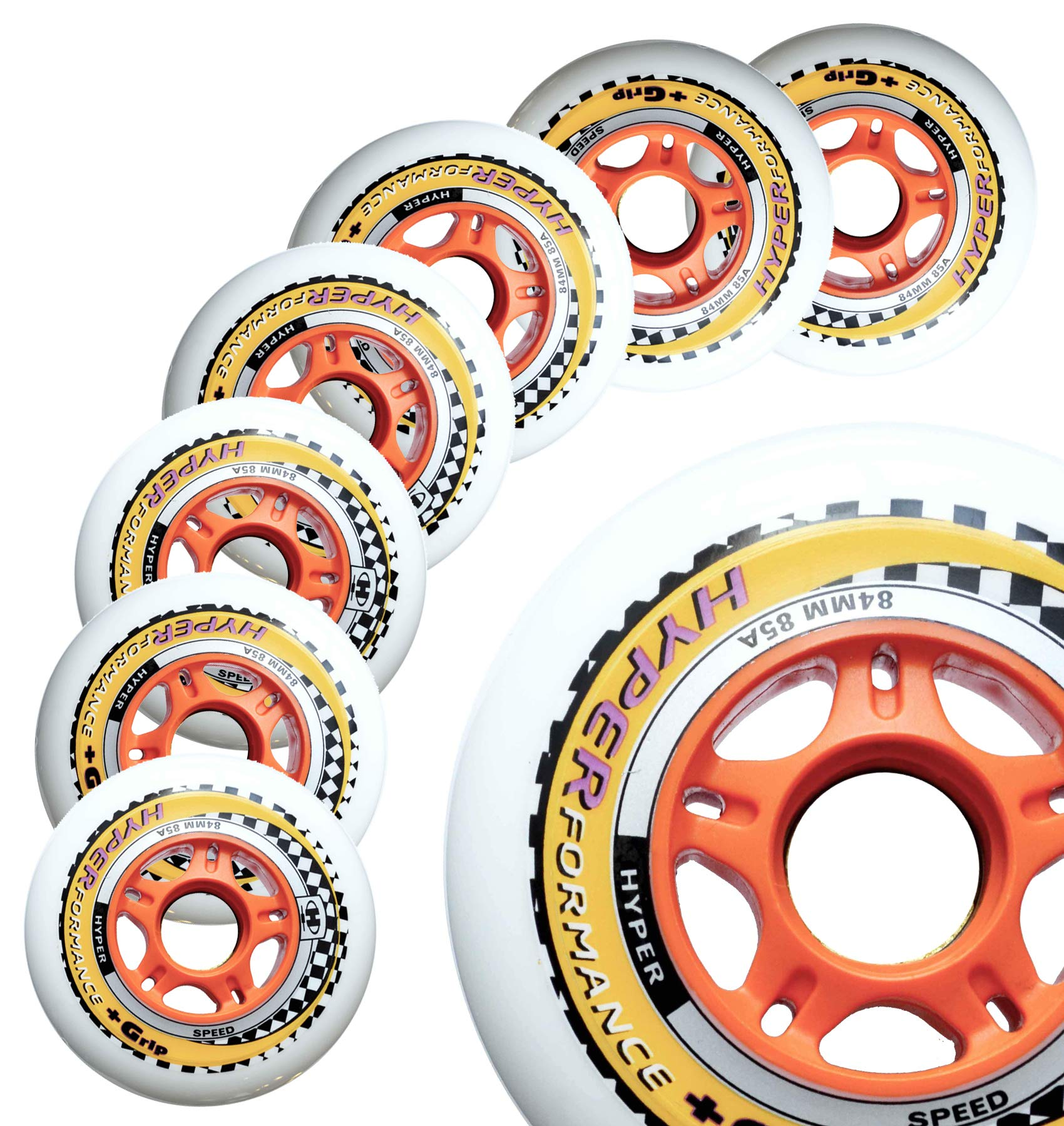 Inline Race Skate Wheels Hyper HYPERFORMANCE+G - 8 Wheels - 85A - Sizes: 84MM, 90MM, 100MM, 110MM - Speed Skating, Fitness and Outdoor Recreational Wheels (80MM)