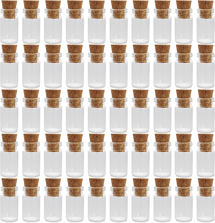 Mini botellas de vidrio para artesania (Pack de 50, 18 mm)