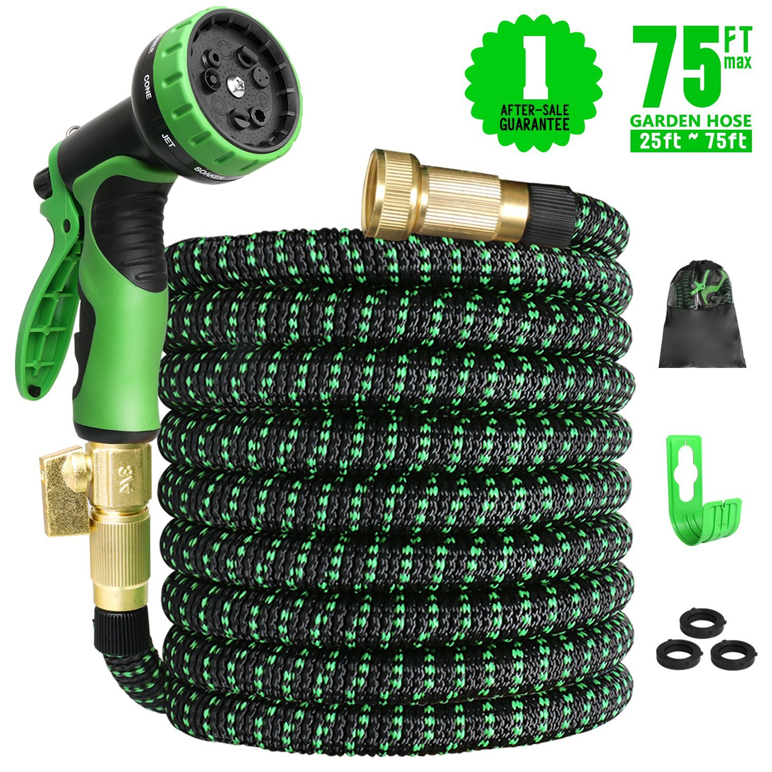 Expandable Garden Hose 75ft Expanding Water Hose, 75' Flexible Lightweight Gardening Hose with 3/4 Inch Strong Solid Brass Fittings 9 Function Hose Nozzle, Outdoor Yard Cloth Hoses(1 Year Guarantee)