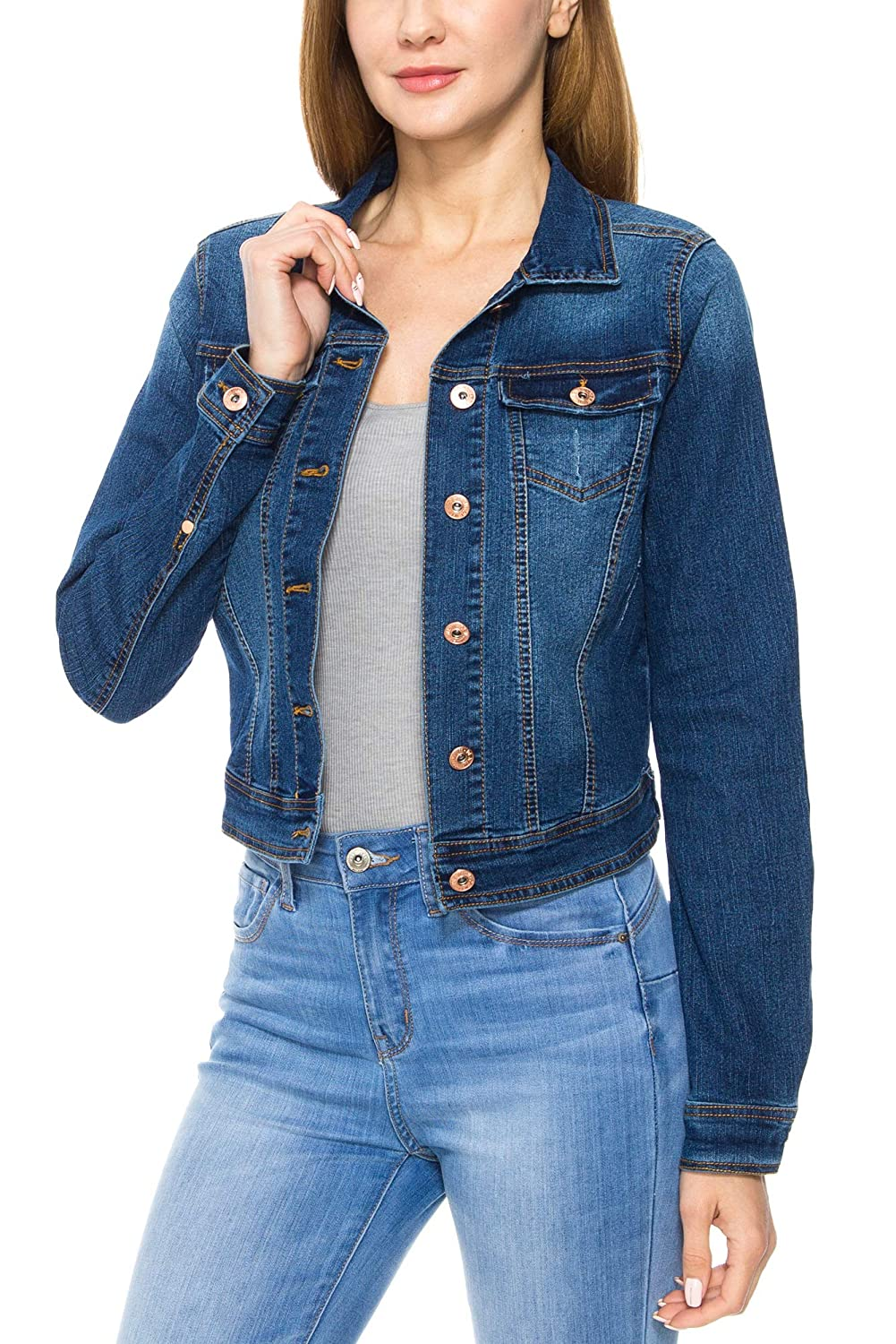 C027_denimbluee KAYLYN KAYDEN KLKD Women's Long Sleeve Layered Drawstring Denim Button Down Vest Jacket with Hoodie