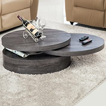 Amazoncom VIRREA Oak Round Rotating Wood Coffee Table with 3