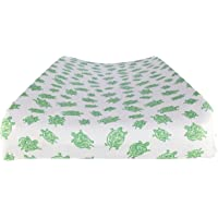 """Changing Pad Cover in 100% Organic Cotton to Fit Standard 16"""" x 32"""" Pad, Turtle Print (Green)"""