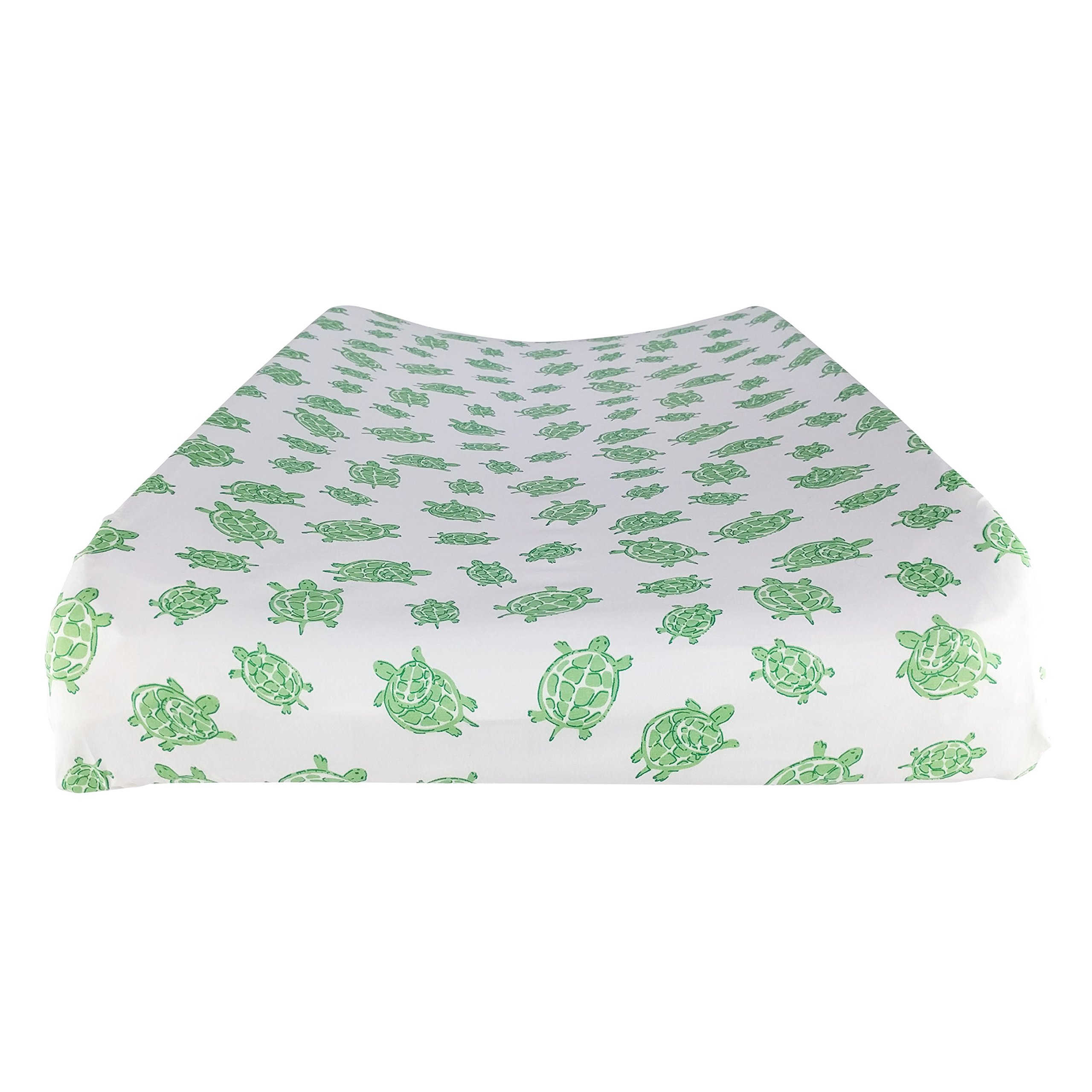 "Changing Pad Cover in 100% Organic Cotton to Fit 16"" x 32"" Pad, Turtle Print (Green)"