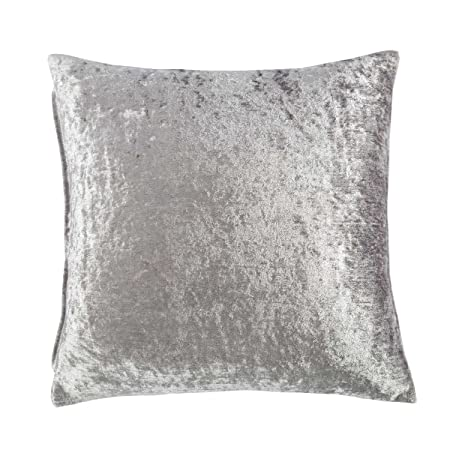 best authentic buying now top design Homescapes Luxury Silver Crushed Velvet Cushion Cover 24 x 24 Inch (60 cm)  Square Grey Scatter Cushion for Sofa or Bed