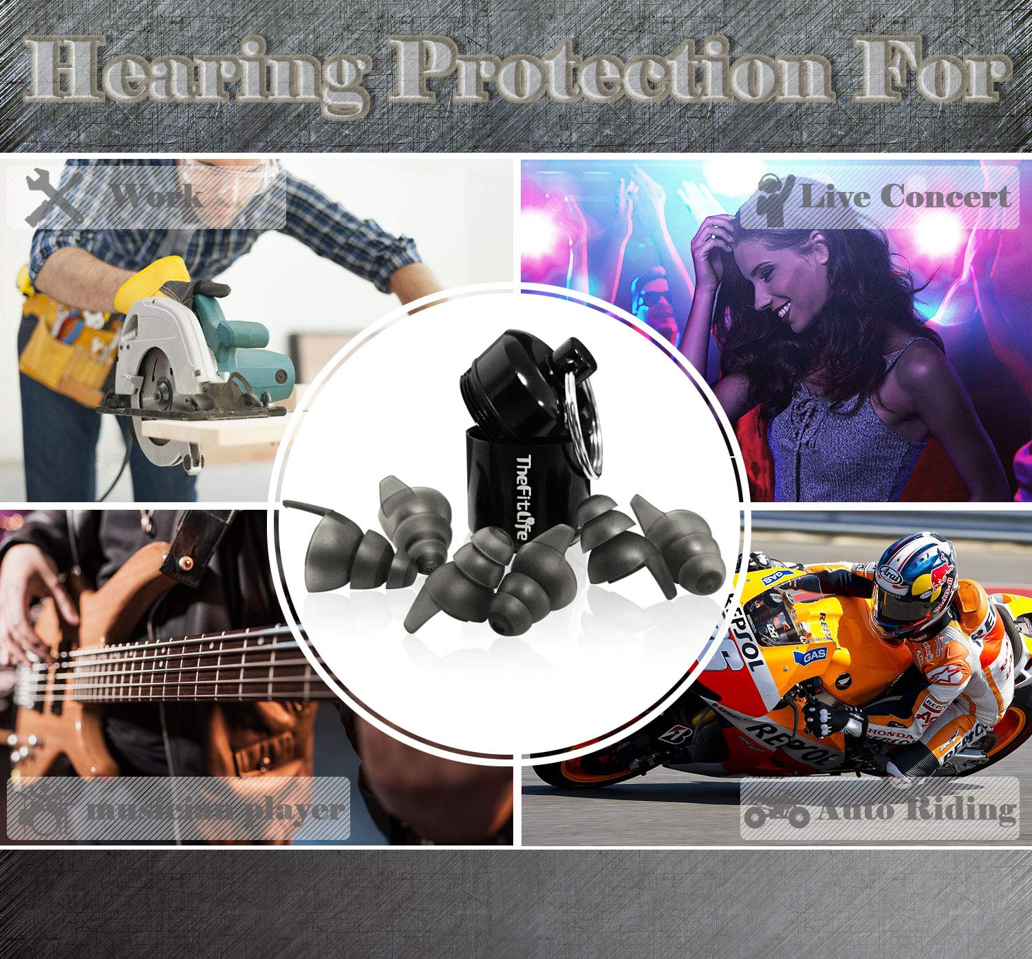 TheFitLife Noise Reduction Ear Plugs - Ultra Comfortable and Reusable Silicone High Fidelity Earplugs with 23dB SNR for Musicians Concerts Motorcycle Shooting 3 Sizes Fit for Kids Men Women (Black) by TheFitLife (Image #7)