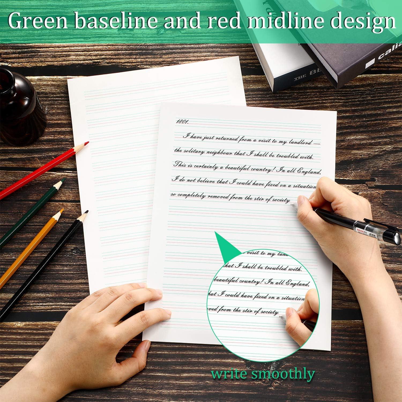 16K Handwriting Practice Paper Junior Senior Levels 100 Sheets Handwriting Paper Writing Sheets for Prep-K Elementary 10.2 x 7.5 Inches