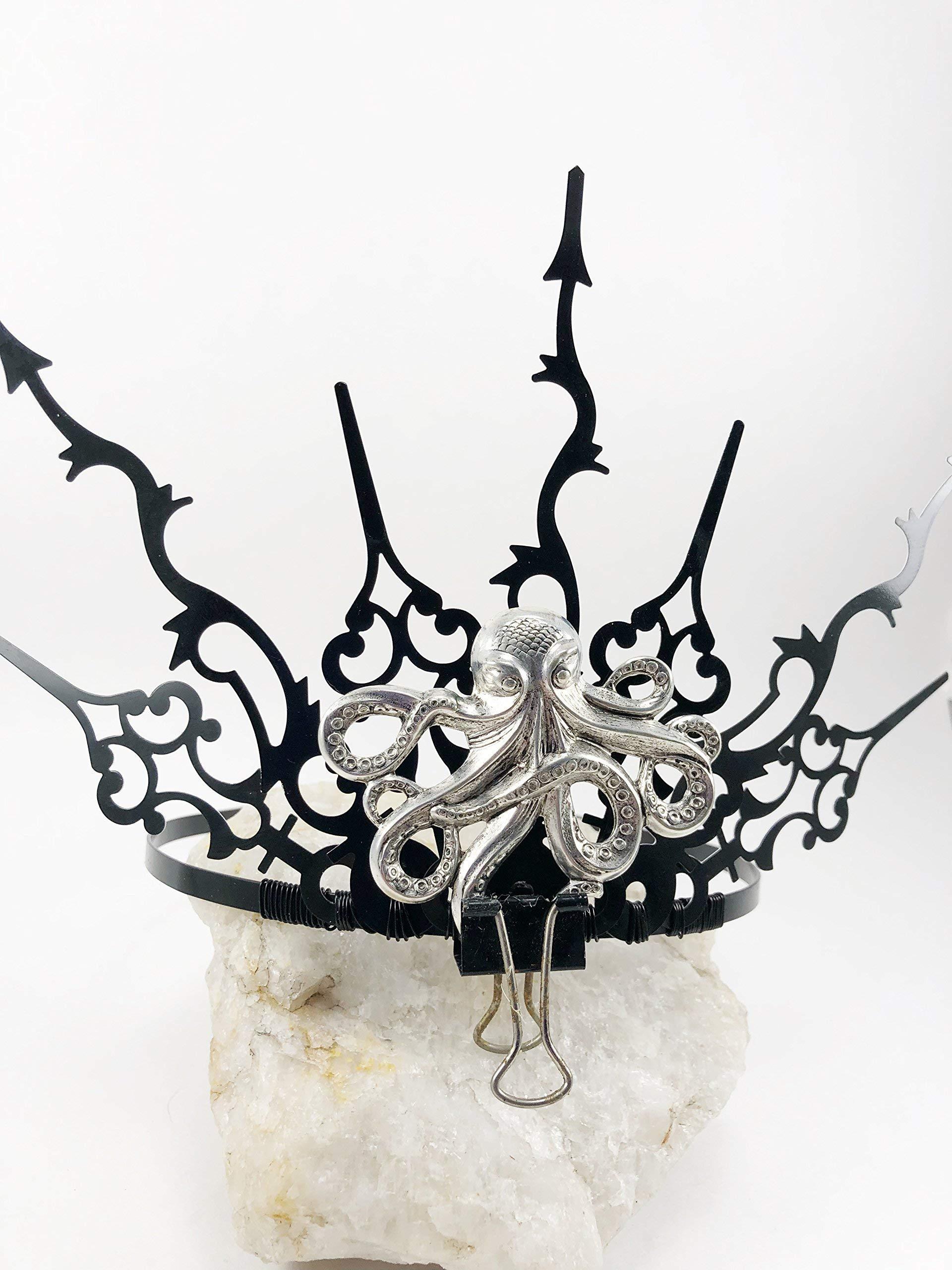 Evil Queen Crown Ursula Tiara Octopus Tiara Steampunk Clock Hand TIARA Crown, Elven Fairy Costume Tiara, Black Gothic Tiara