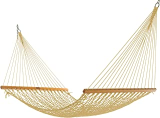 product image for Nags Head Hammocks NH11TAN Single Tan Duracord Rope Hammock with Free Extension Chains & Tree Hooks, Handcrafted in The USA, Accommodates 1 Person, 450 LB Weight Capacity, 12 ft. x 49 in.