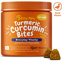Zesty Paws Turmeric Curcumin for Dogs - Herbal Soft Chews with 95% Curcuminoids for Digestive…