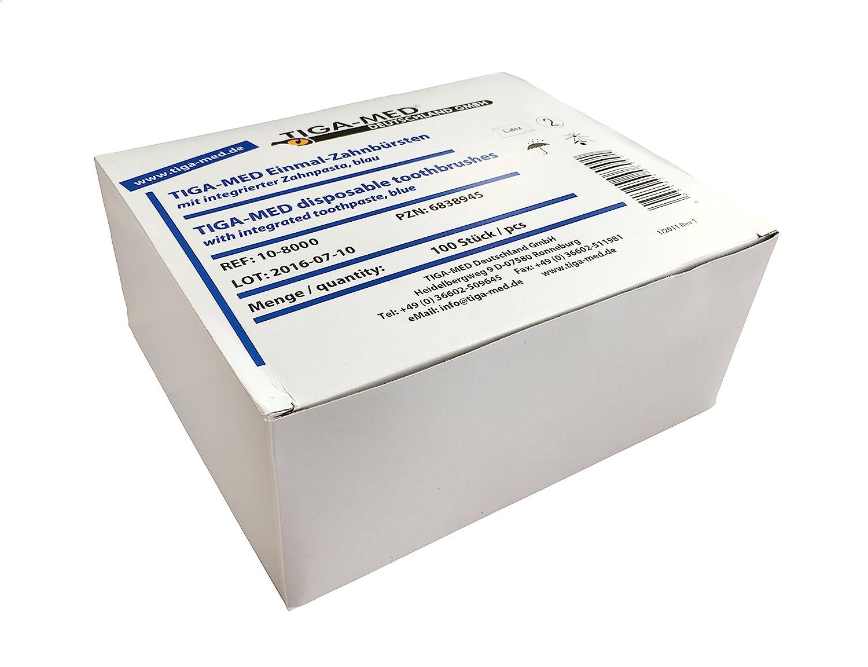TIGA Med - Cepillo de dientes con pasta integrada (100 unidades), color azul: Amazon.es: Salud y cuidado personal