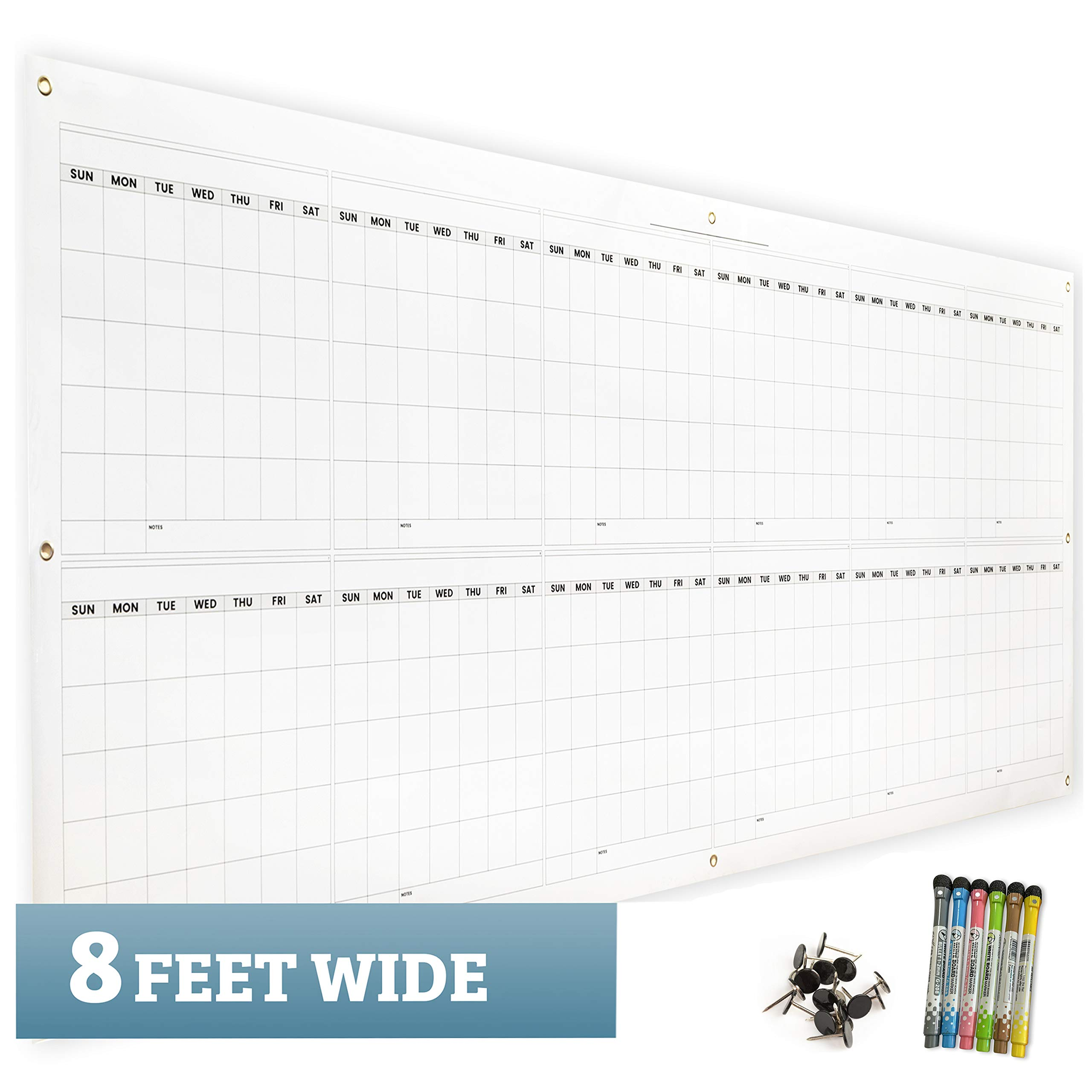 Large Dry Erase Wall Calendar 36'' x 96'' by Charisma Tree - 2019 Premium Giant Jumbo Oversized Undated Annual Planner for 12 Month Event Planning - For School Classroom or Home Office & Business Use