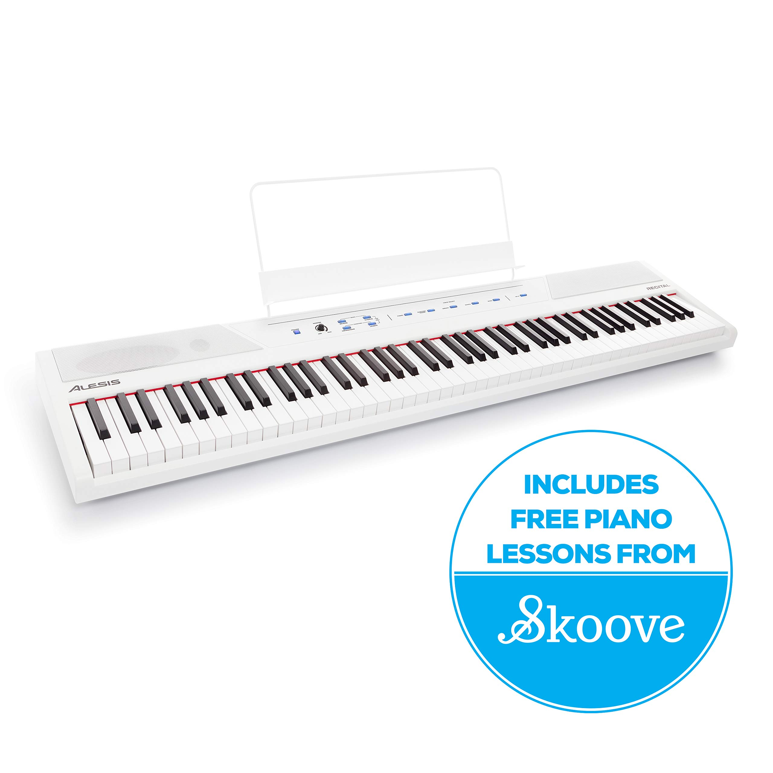 Alesis Recital White | All White 88-Key Digital Piano / Keyboard with Full-Size Semi-Weighted Keys, Power Supply, Built-In Speakers and 5 Premium Voices by Alesis