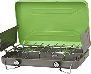 Flame King VT-101 2 Burner Portable Propane Gas Classic Camping Stove Grill, Light Green