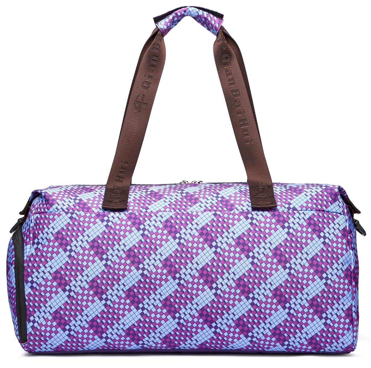 Malirona Gym Bag Lightweight Duffel for Women Sports Duffels Bag with Shoes Compartment 17 Inch Brown prismatic lattice