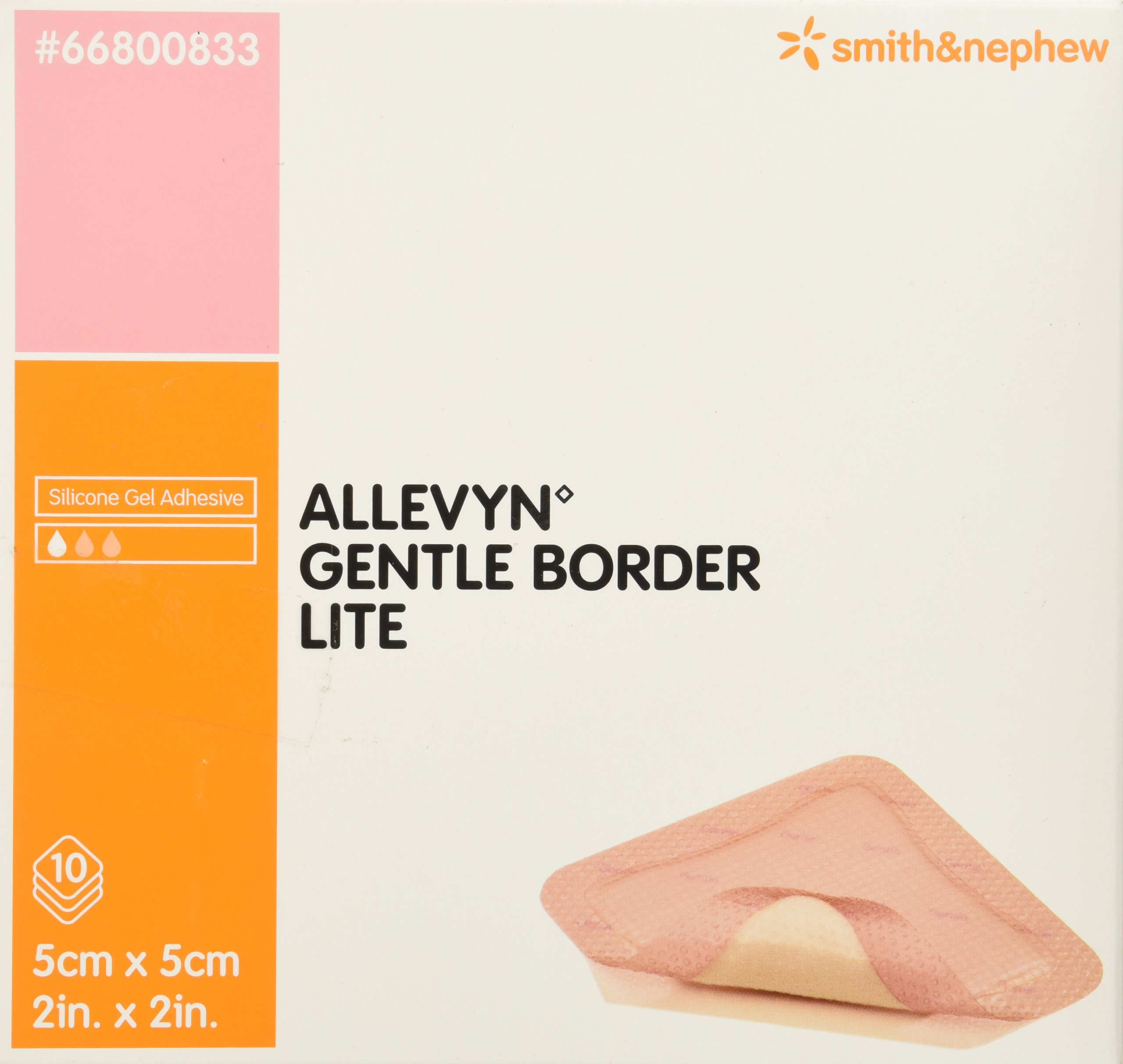 Smith & Nephew Foam Dressing Allevyn Gentle Border Lite 2 X 2 Inch Square Adhesive Sterile #66800833, Box of 10