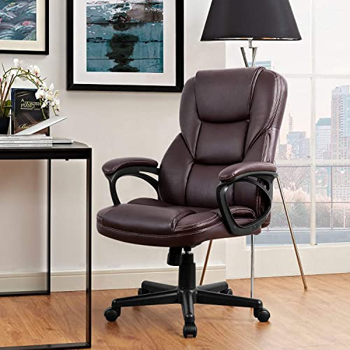 Furmax Office Executive Chair High Back Adjustable Managerial Home Desk Chair,Swivel Computer PU Leather Chair with Lumbar Support Brown