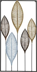 WHW Whole House Worlds Metal Leaf Wall Decor with Frame, Hand Made, Welded Iron, Framed Rectangle, Vertical Orientation, Blue, Burnished Gold and Bronze, 14.5 L x 27.5 H inches