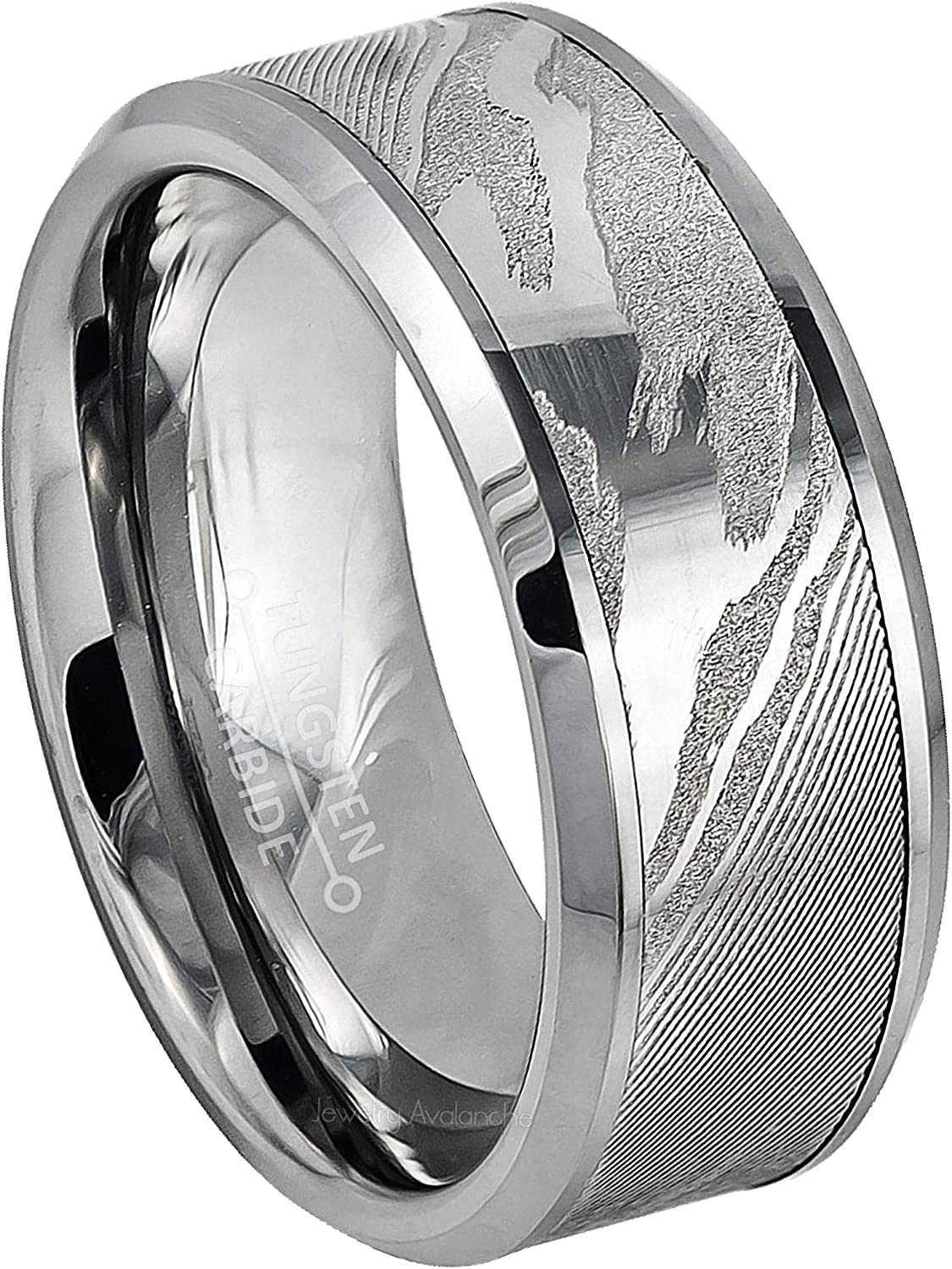 Jewelry Avalanche Mens Tungsten Ring Beveled Tungsten Wedding Band Comfort Fit Anniversary Ring