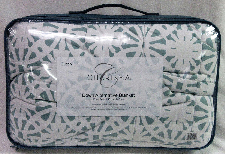 Charisma Queen Size Lt Green Down Alternative Blanket 98 by 96 inches Hypoallergenic