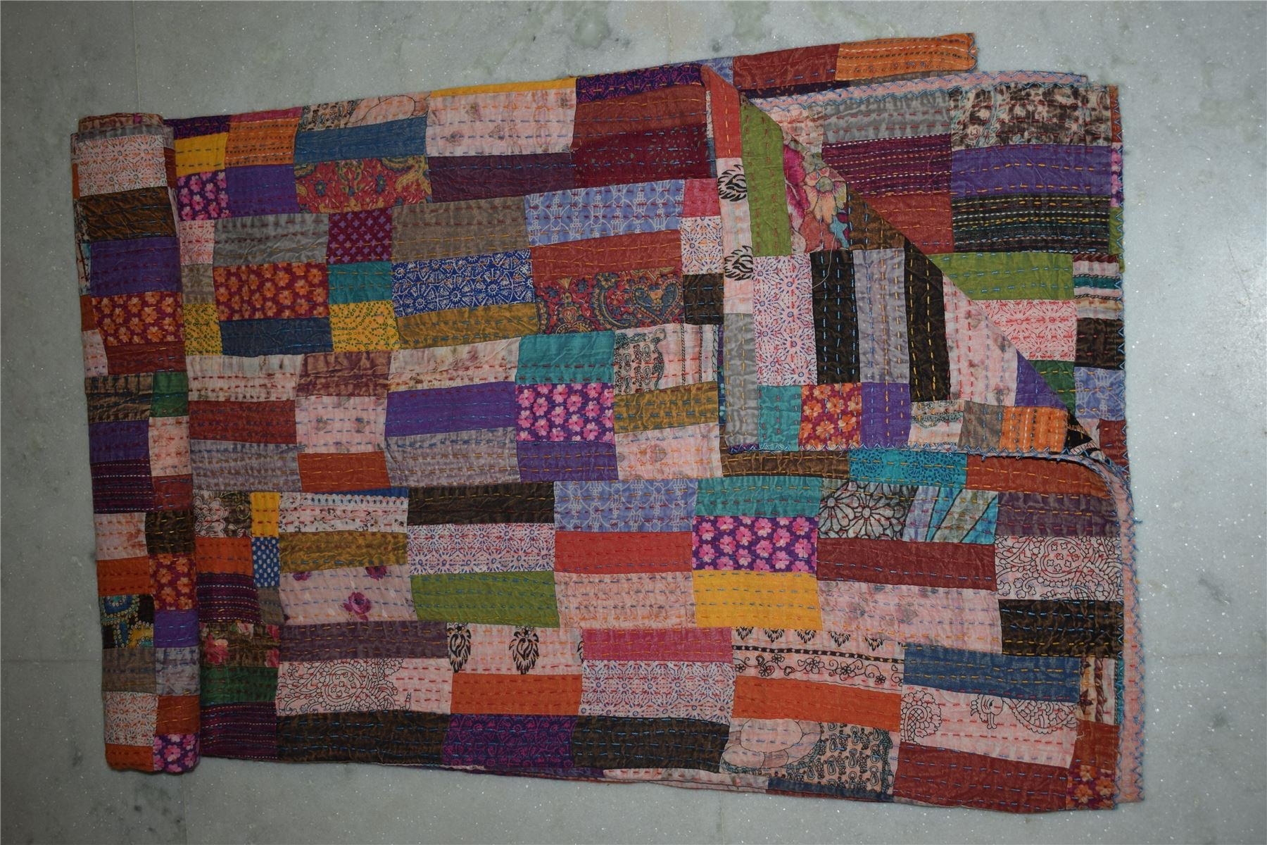 Queen Size Kantha Quilt Hand Block Print Patchwork Bedding Blanket Throw51