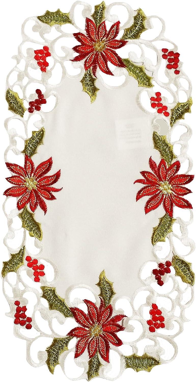 Xia casa Modas Flores Encaje Bordado Cutwork Navidad traycloth, 8 por 38,1 cm, Juego de 4: Amazon.es: Hogar