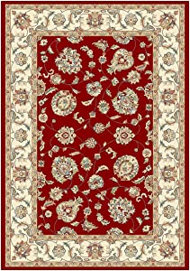 """Dynamic Rugs Ancient Garden Collection Runner Rug, 2' by 3'11"""", Red/Ivory"""