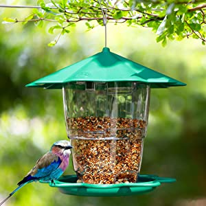 Prsildan Hanging Wild Bird Feeder, Pavilion Shaped with Roof Outside Decoration, 40 oz Panorama Gazebo Birdfeeder Avoid Weather and Water, Perfect for Attracting Birds on Garden Yard (Green)