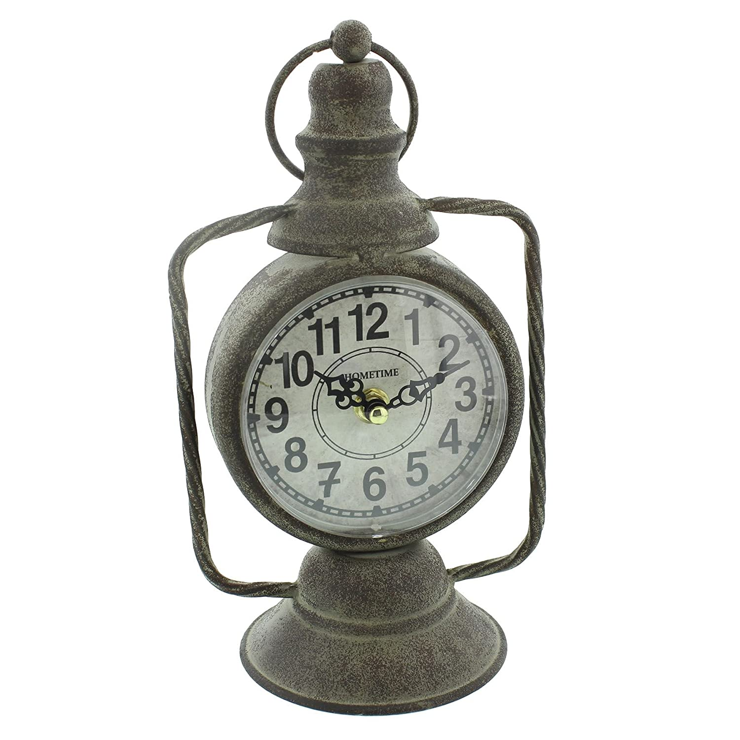 Black Old Lantern Design Mantel Clock by Hometime Watching Clocks