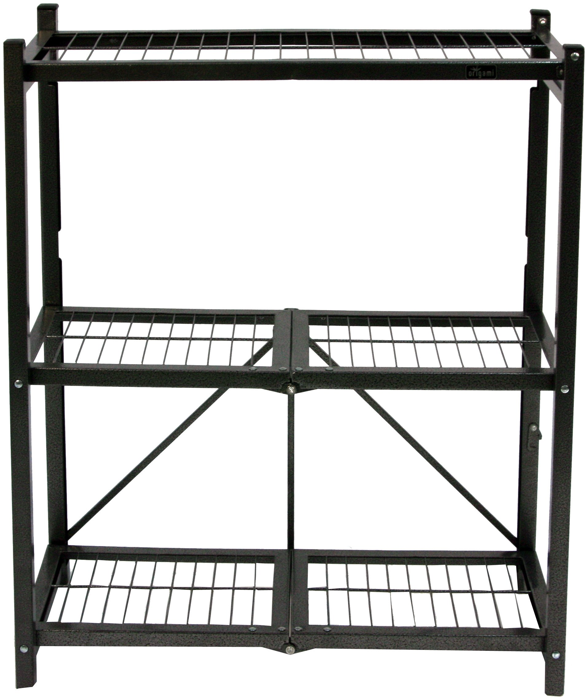 Origami R3-01 General Purpose 3-Shelf Steel Collapsable Storage Rack, Small