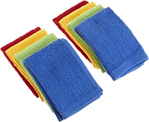 """DII 100% Cotton, Machine Washable, Ultra Absorbent, Everyday Kitchen Basic, Utility, Bar Mop Dishcloth 12 x 12"""" Set of 8- Primary"""