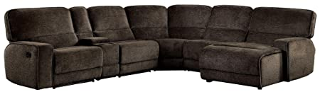 Homelegance Shreveport 6-Piece Sectional with Two Reclining Chairs and One Right Side Reclining Chaise Fabric Chenille, Brown