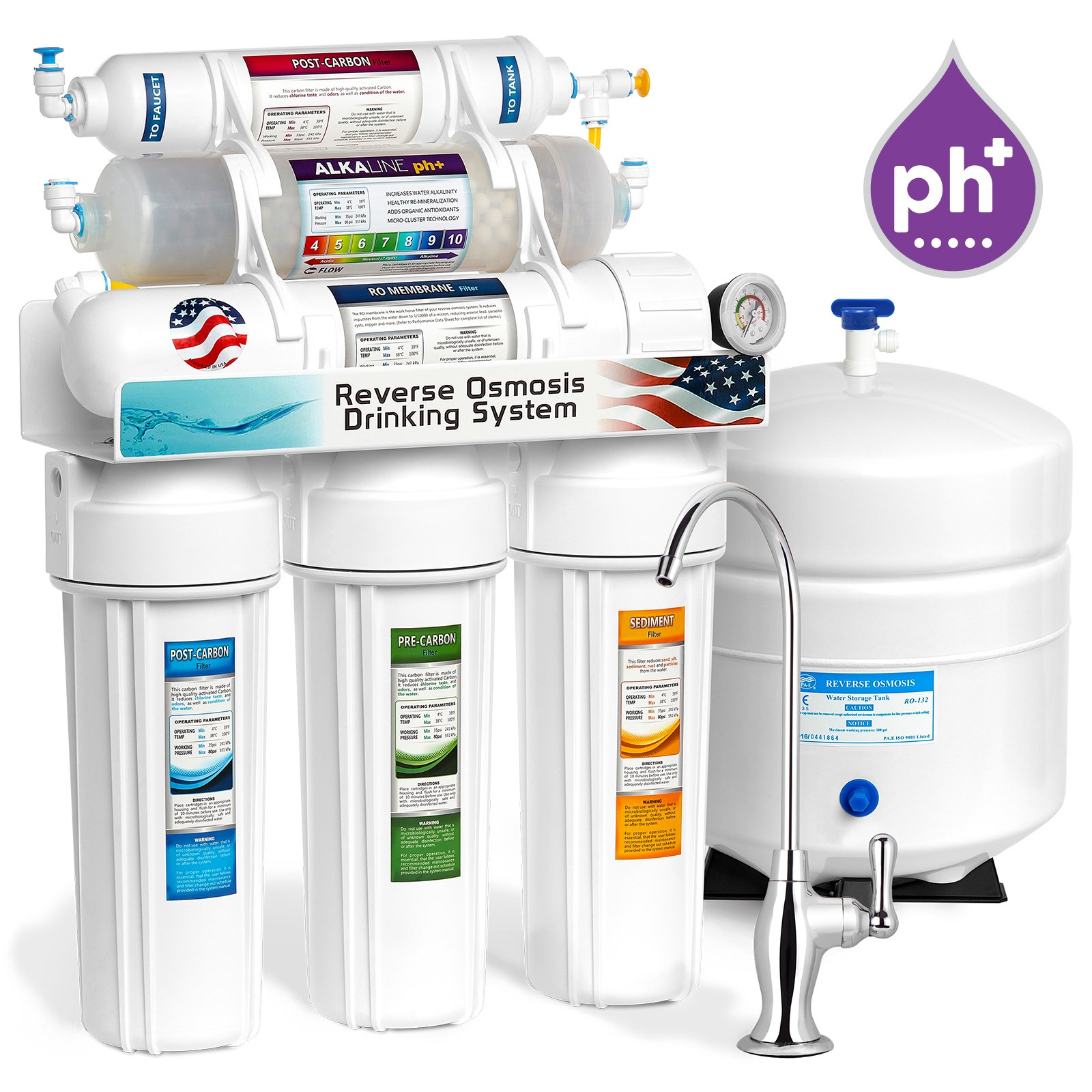 10-STAGE ALKALINE PH+ Home Drinking Reverse Osmosis System complete DELUXE + w/ pressure gauge -ROALK5DG