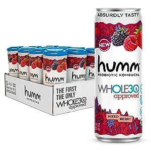 Humm Whole30 Approved Probiotic Kombucha Mixed Berry - The Only Whole30 Approved Kombucha. Absurdly Tasty. 2 Billion Probiotics - Organic, Vegan & GMO-Free (12 Pack)
