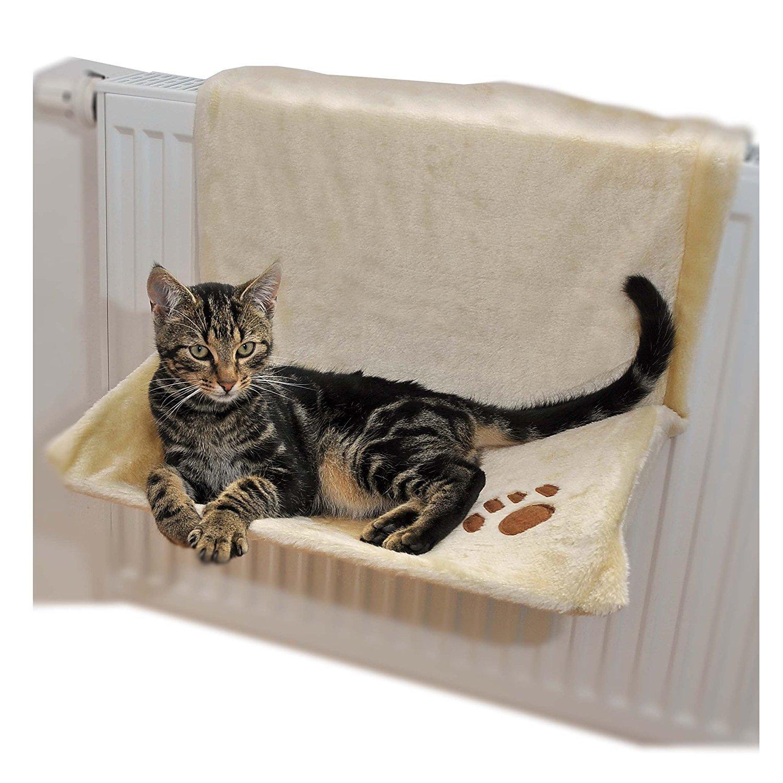 Ducomi Warmy–Niche chat Radiateur–46x 32cm–Hamac de radiateur pour chiots et chats jusqu'à 5kg–Lit à suspendre au radiateur avec souple et chaud couverture de peluche molletonnée pour–Housse amovible et lavable