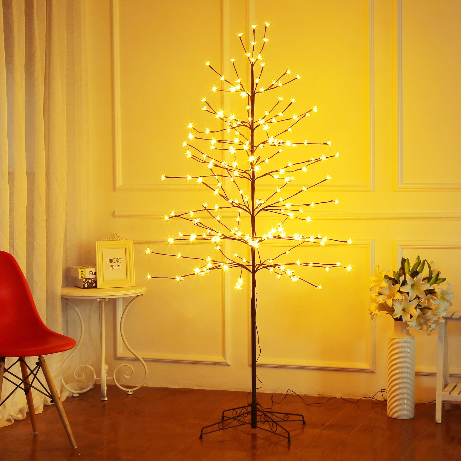 cb43648d3d7 Amazon.com  Bolylight LED Cherry Blossom Tree 6ft 208L   Indoor and Outdoor  Decoration Lighted Tree for Bedroom Party Wedding Office Home Warm White   Home   ...
