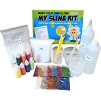 Make Your Own Slime! Kit W/ Containers & Lids, Clay, Foam Beads, Glue, Glitter Powders with Accessories! Recipes for Making Color and Different Types of Slime How to Make Slime Recipes Included