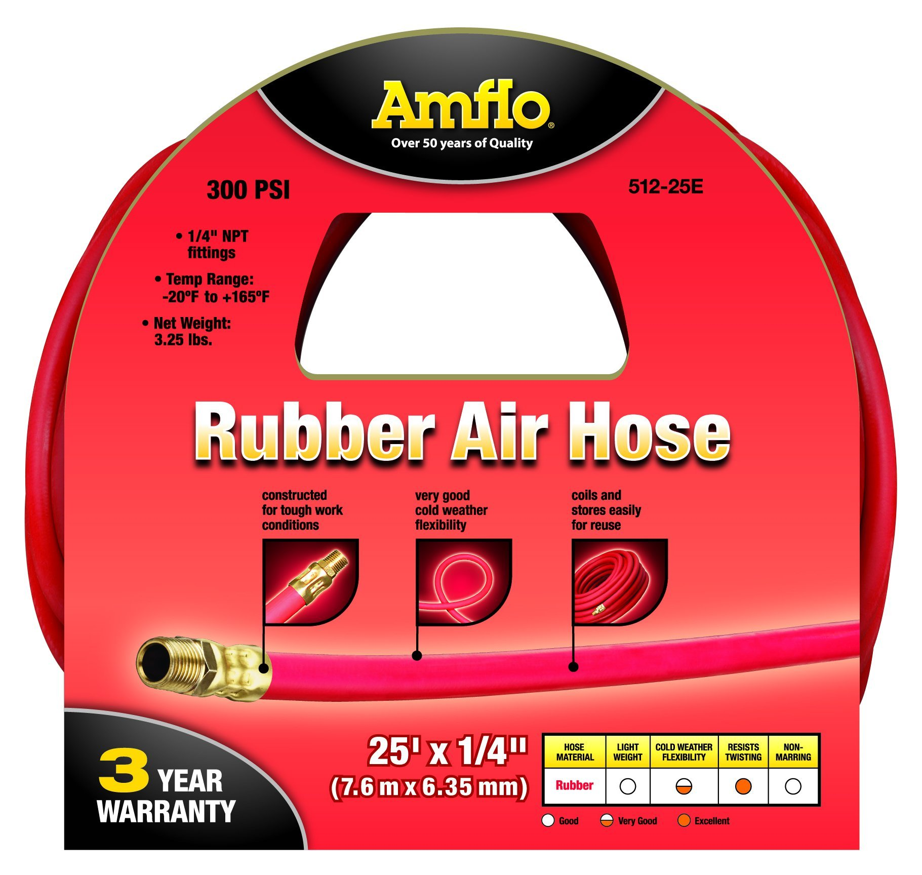 Amflo 512-25E Red 300 PSI Rubber Air Hose 1/4'' x 25' With 1/4'' MNPT End Fittings by Amflo (Image #2)
