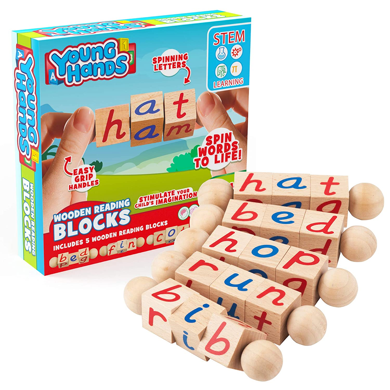 Wooden Reading Blocks   [5] Sets of Fun, Educational Spinning Alphabet Manipulative Blocks for Children w/ Easy-Grip Handles   STEM & Montessori Approved Toy for Pre-Kindergarten Boys & Girls Gift