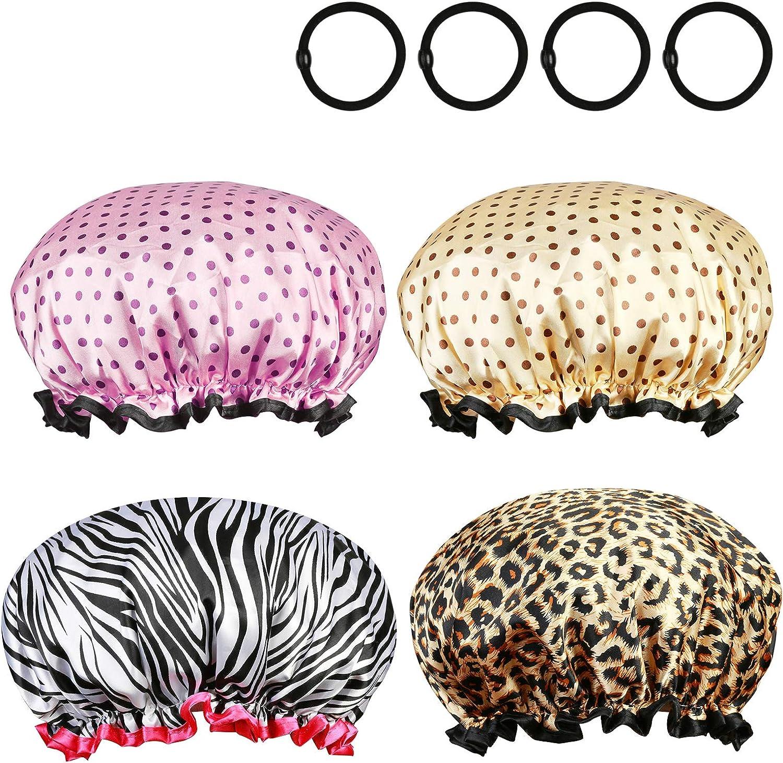 ZoomSky 4pcs Gorro de Ducha Sombrero de baño Impermeable de Gorro elástico para Pelo Largo y Grueso con 4 Gomas de Pelo