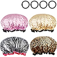 ZoomSky Shower Cap 4 Pack Double Layer Elastic Band Shower Hat Waterproof Bath Caps with Black Hair bands for Women Girls Long Hair Salon Spa Bathing Accessories