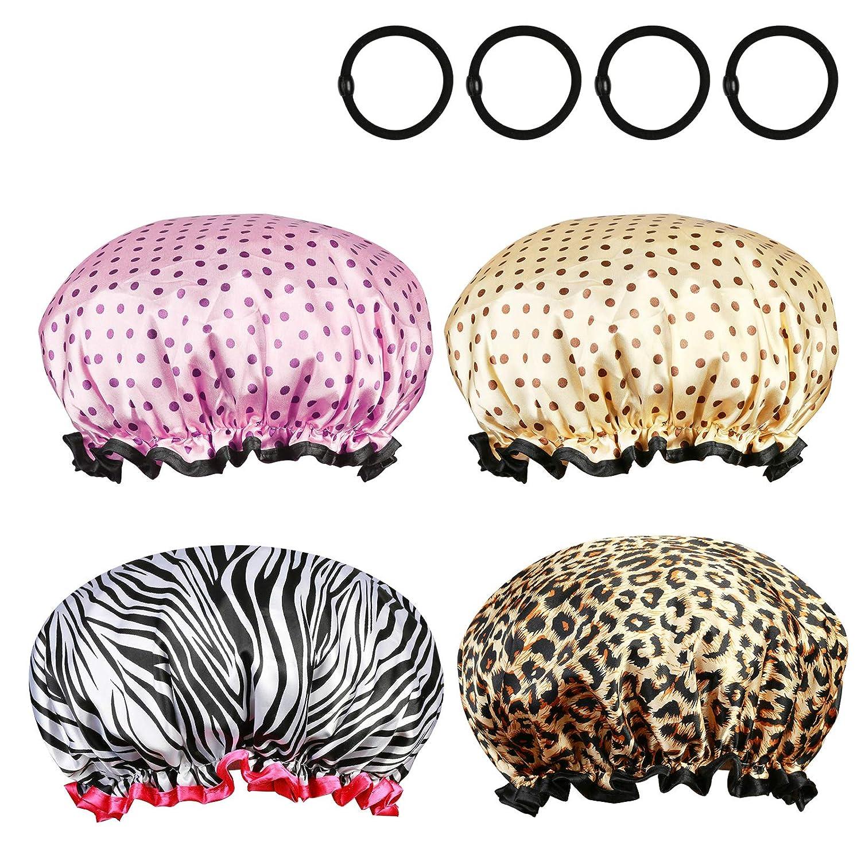 4 Pcs Bonnet de Douche, ZoomSky Double Couche Bonnets de Bain Imperméable Caps Réutilisable Avec élastique Bande Pour Douche femmes Spa