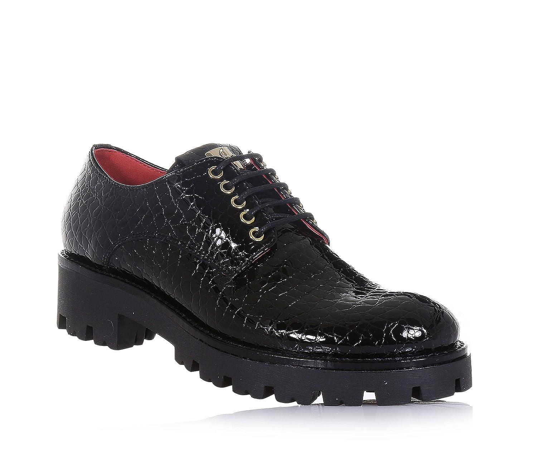 CESARE PACIOTTI - Chaussure Italy, à avec lacets noire à en cuir, made in Italy, motif avec effet peau de crocodile, Fille, Filles, Femme, Femmes - 846737e - reprogrammed.space