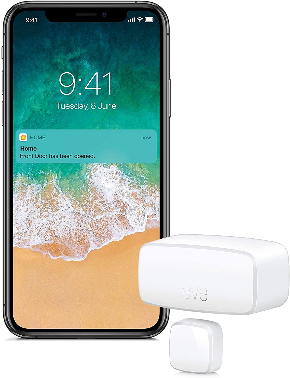 Eve Door & Window - Sensor inalámbrico de contacto, Bluetooth Low Energy, non occorrono bridge o gateway, blanco (Apple HomeKit)