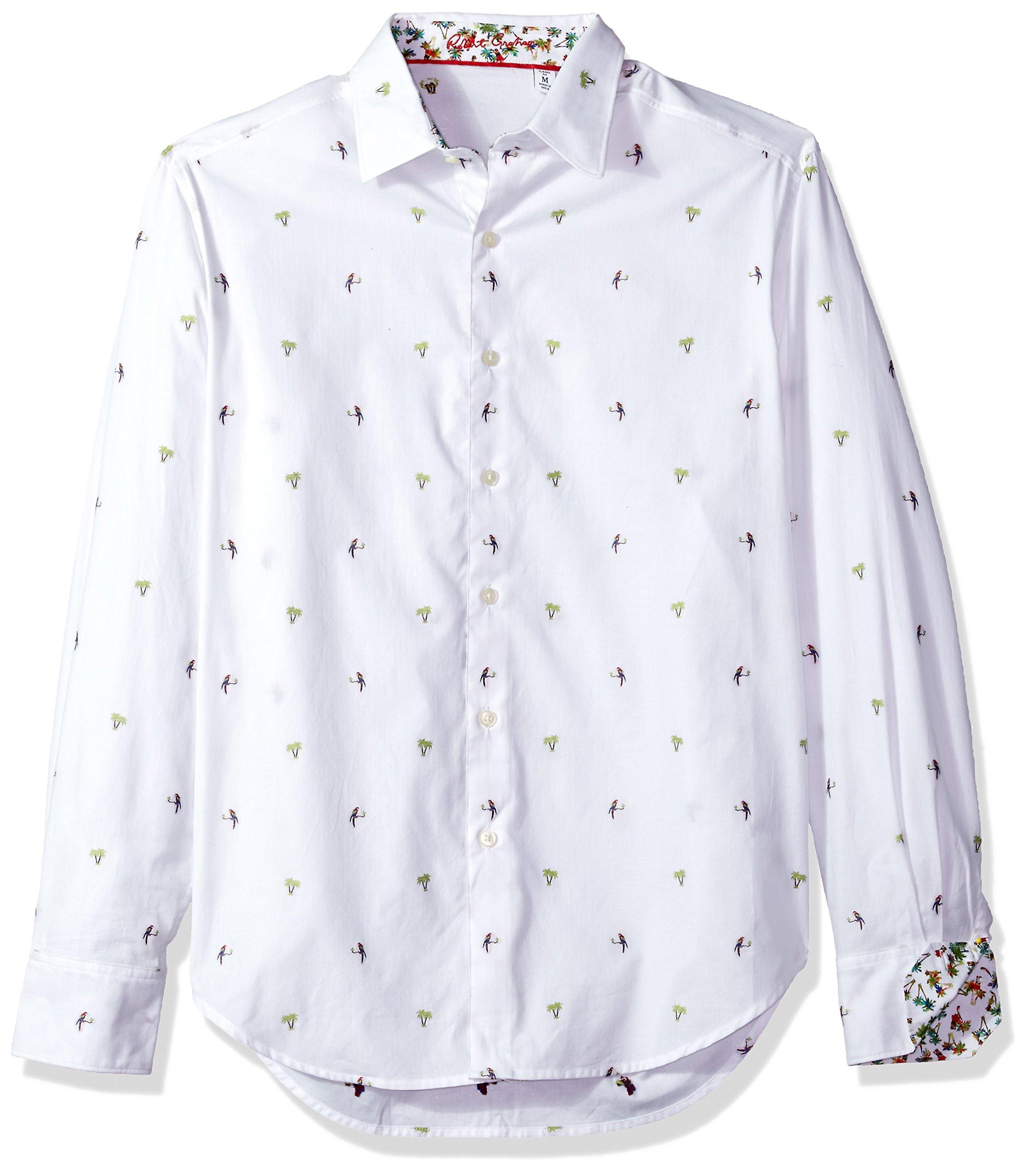 Robert Graham Men's Palm Leaves Classic Fit Sport Shirt, White, Large
