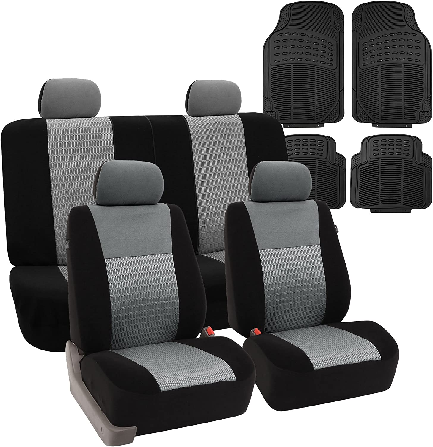 FH Group FB060114 Combo Set: Trendy Elegance Full Set Car Seat Covers, Airbag & Split Ready, Gray/Black Color w. F11305 Black Rubber Floor Mats- Fit Most Car, Truck, SUV, or Van